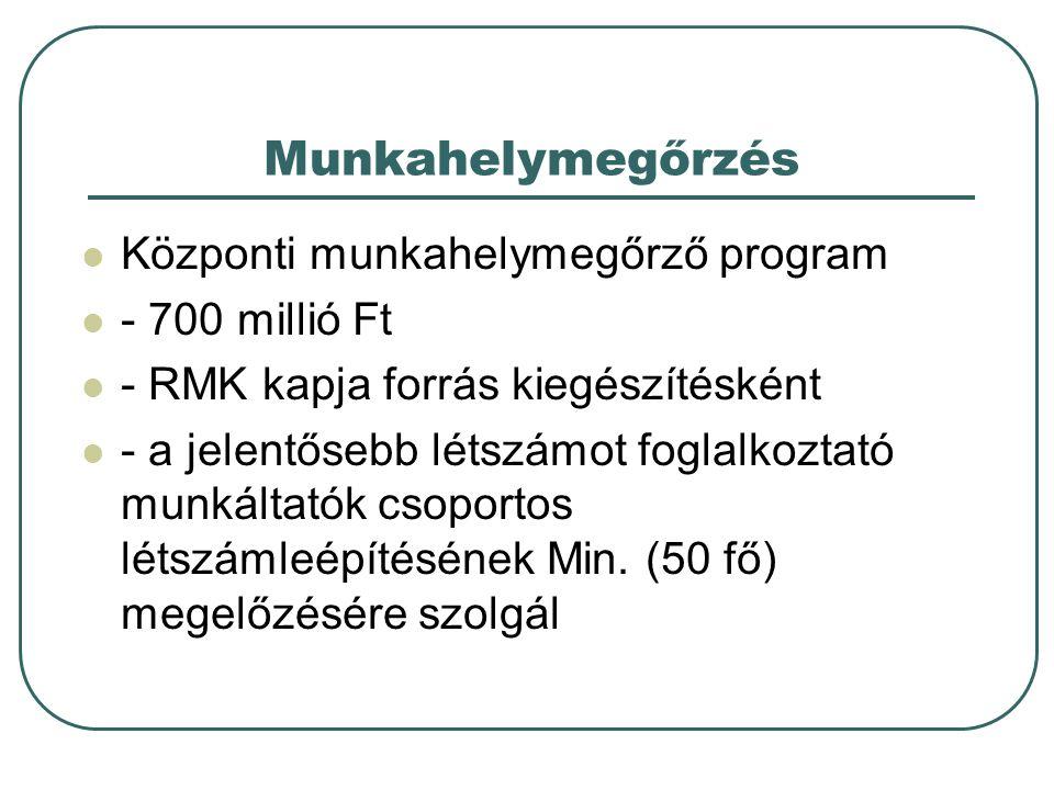 Munkahelymegőrzés Központi munkahelymegőrző program - 700 millió Ft