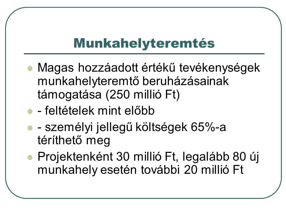 Munkahelyteremtés Magas hozzáadott értékű tevékenységek munkahelyteremtő beruházásainak támogatása (250 millió Ft)