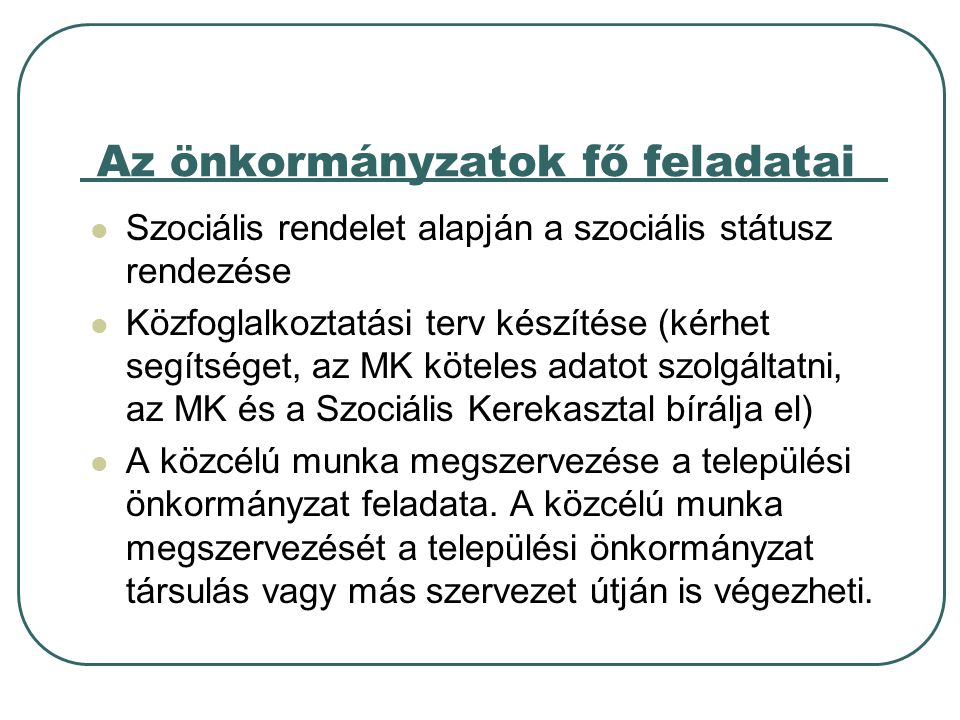 Az önkormányzatok fő feladatai