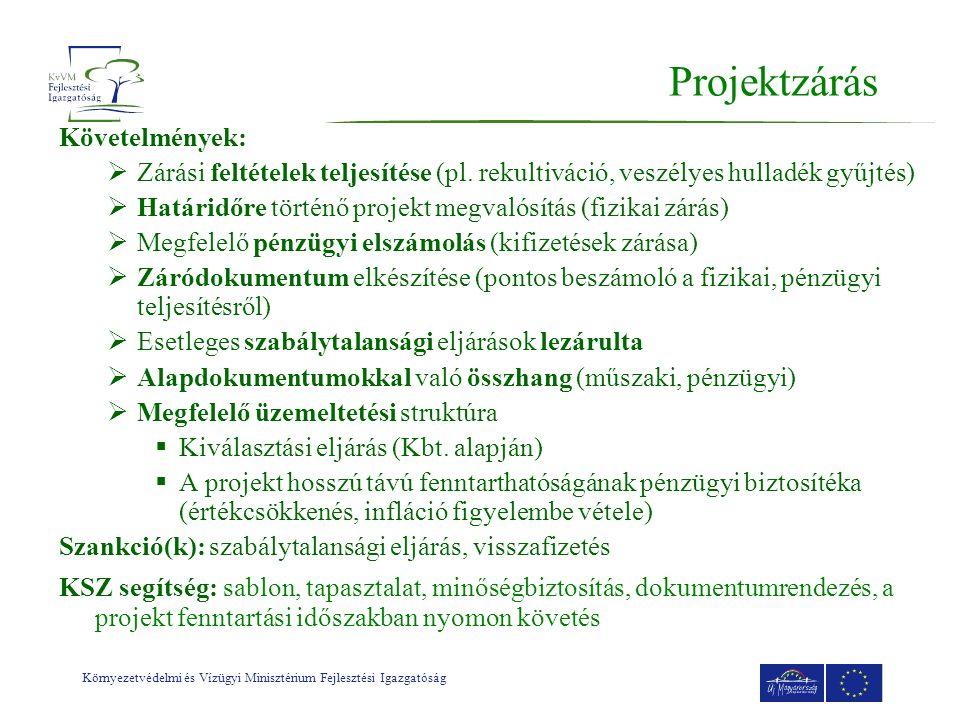 Projektzárás Követelmények: