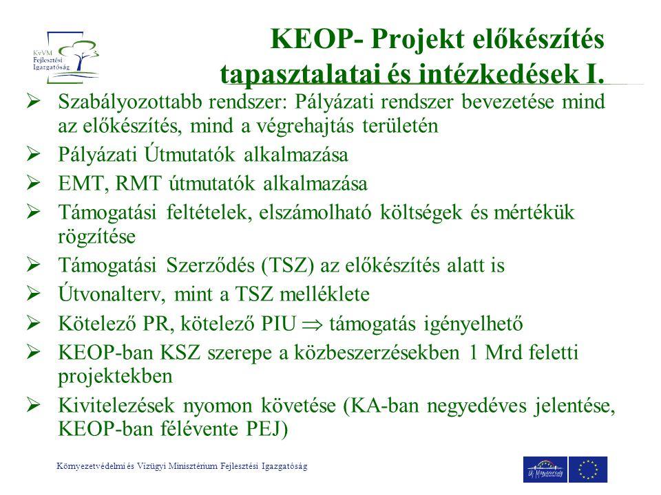 KEOP- Projekt előkészítés tapasztalatai és intézkedések I.