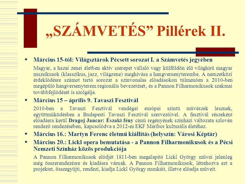 """""""SZÁMVETÉS Pillérek II."""