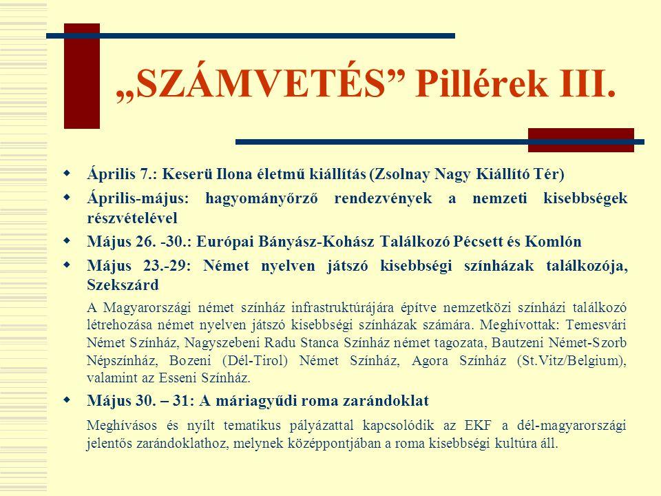 """""""SZÁMVETÉS Pillérek III."""