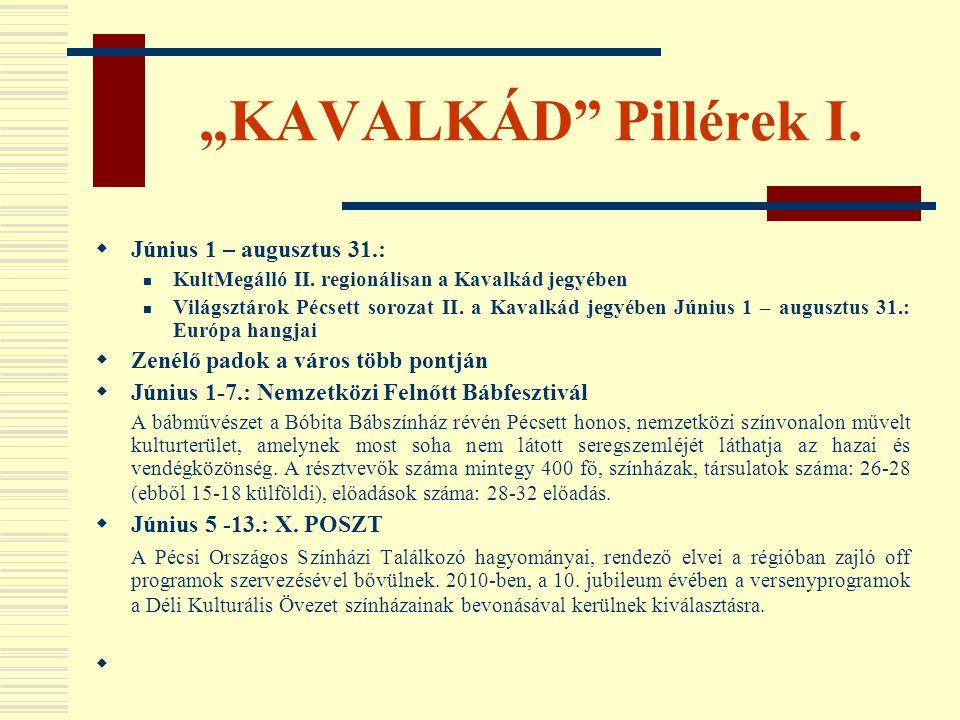 """""""KAVALKÁD Pillérek I. Június 1 – augusztus 31.:"""