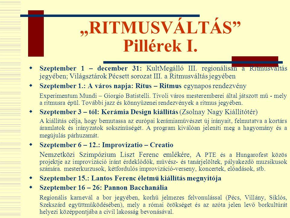 """""""RITMUSVÁLTÁS Pillérek I."""