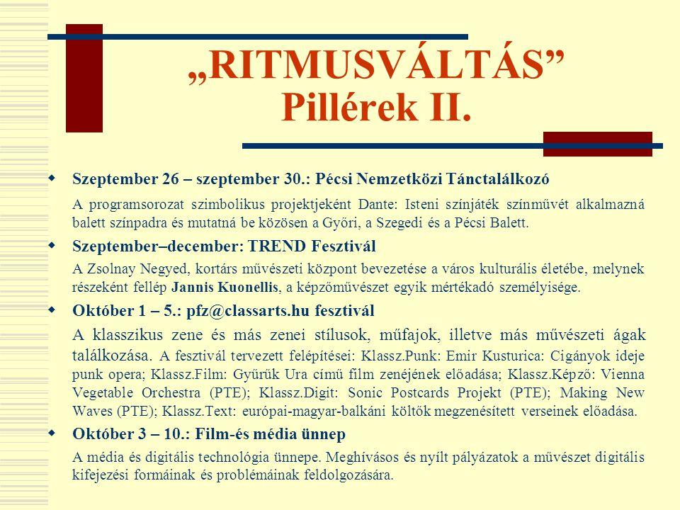 """""""RITMUSVÁLTÁS Pillérek II."""