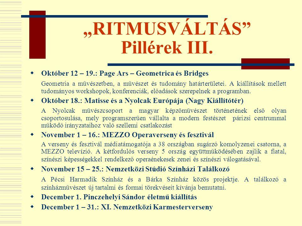 """""""RITMUSVÁLTÁS Pillérek III."""