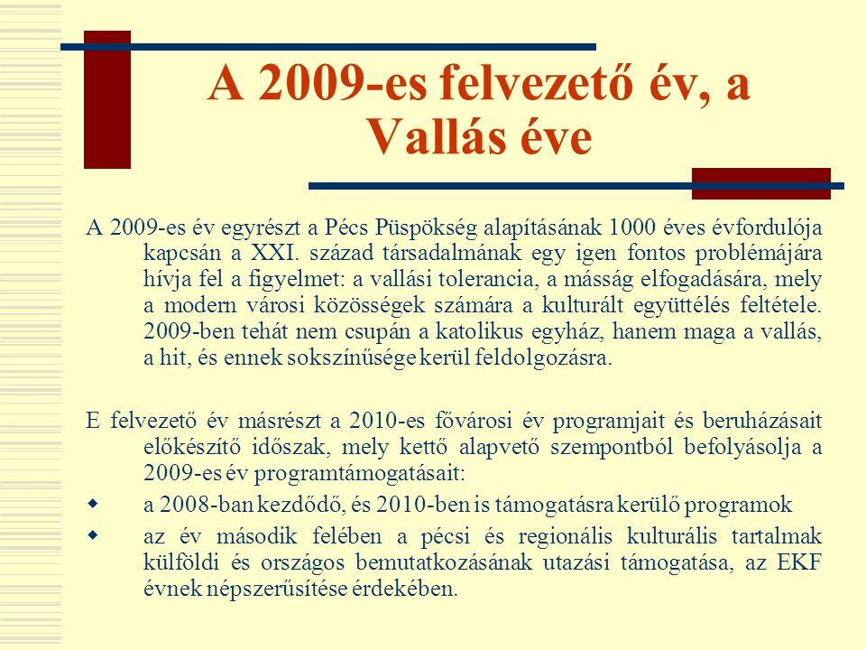 A 2009-es felvezető év, a Vallás éve