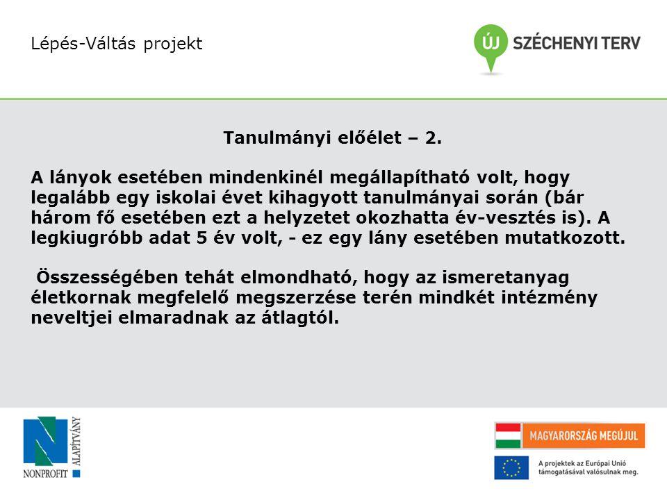 Lépés-Váltás projekt Tanulmányi előélet – 2.