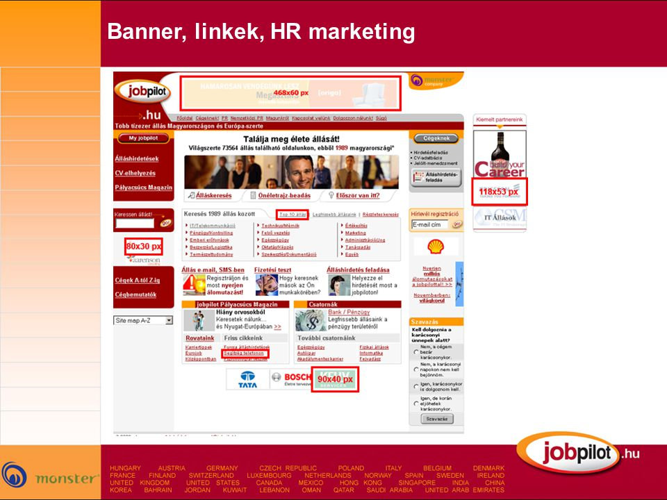 Banner, linkek, HR marketing