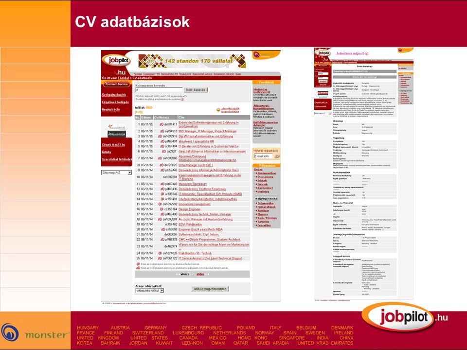 CV adatbázisok