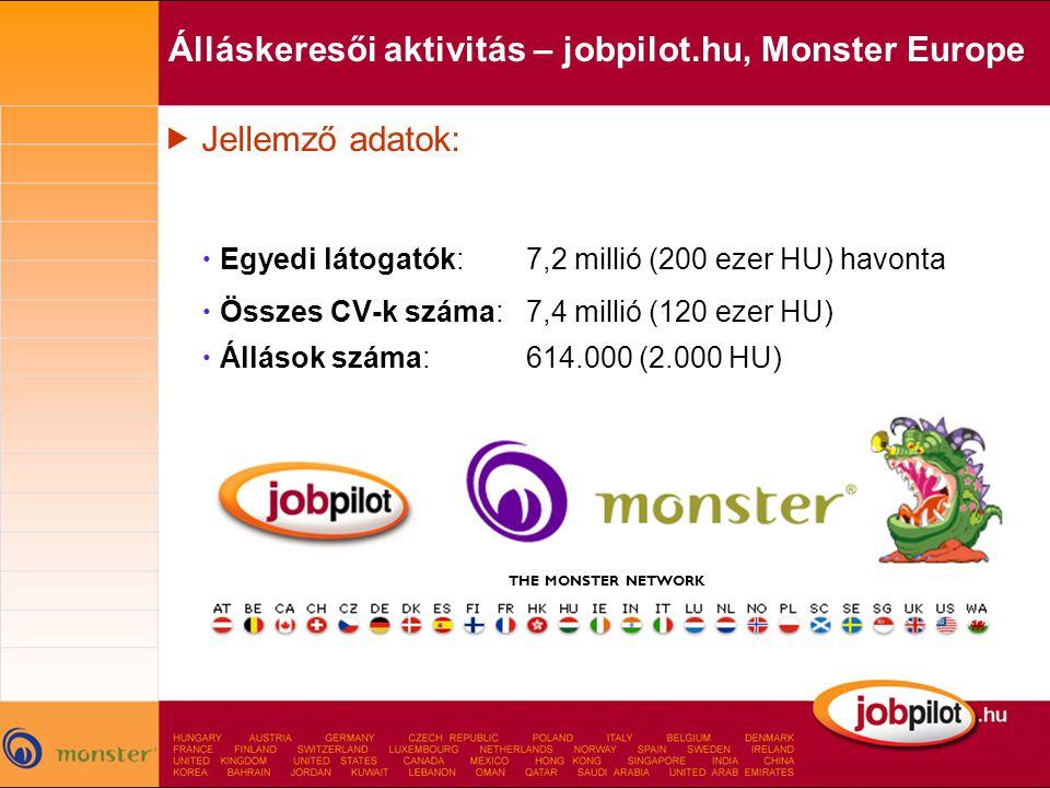 Álláskeresői aktivitás – jobpilot.hu, Monster Europe