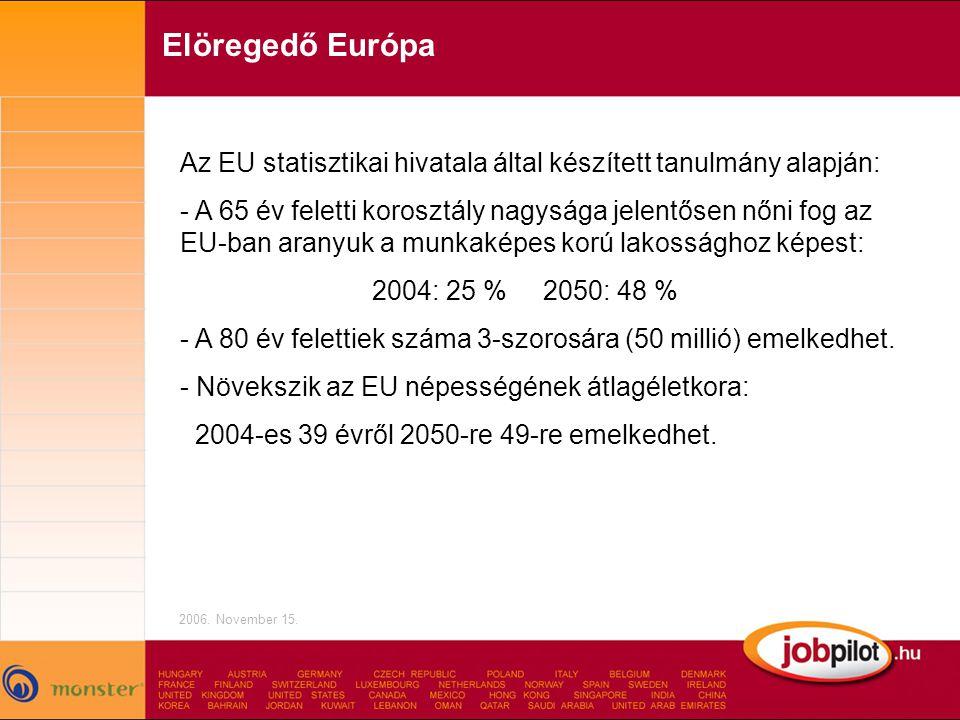Elöregedő Európa Az EU statisztikai hivatala által készített tanulmány alapján: