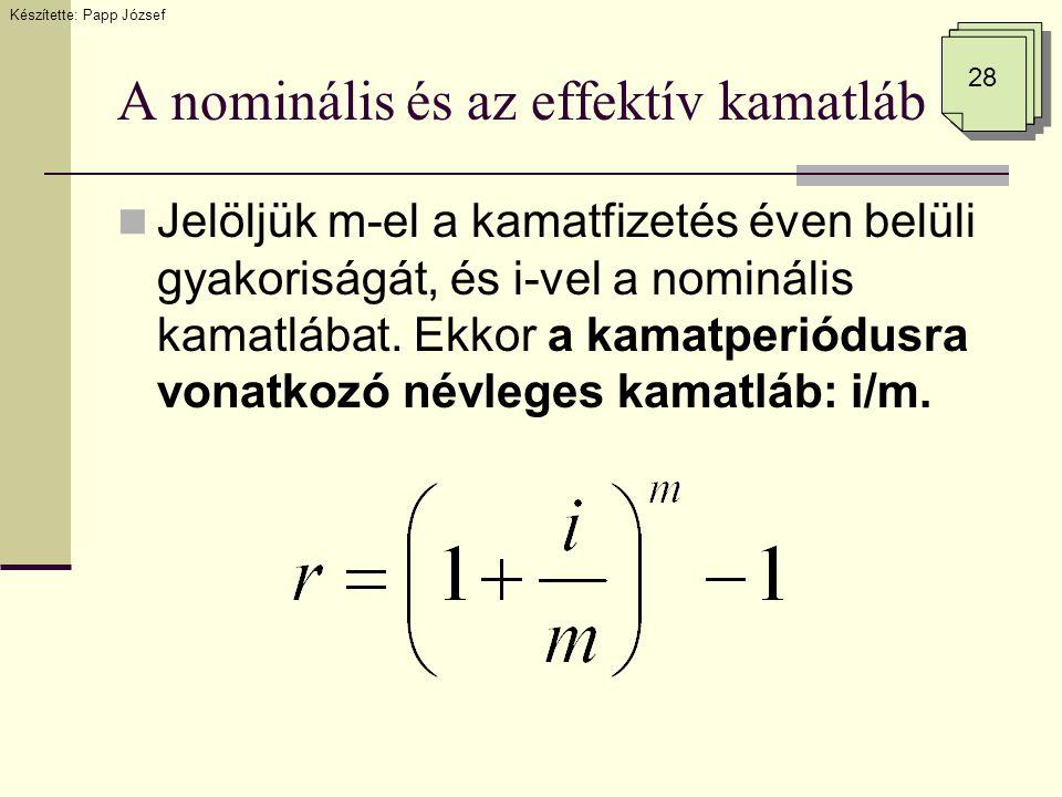 A nominális és az effektív kamatláb
