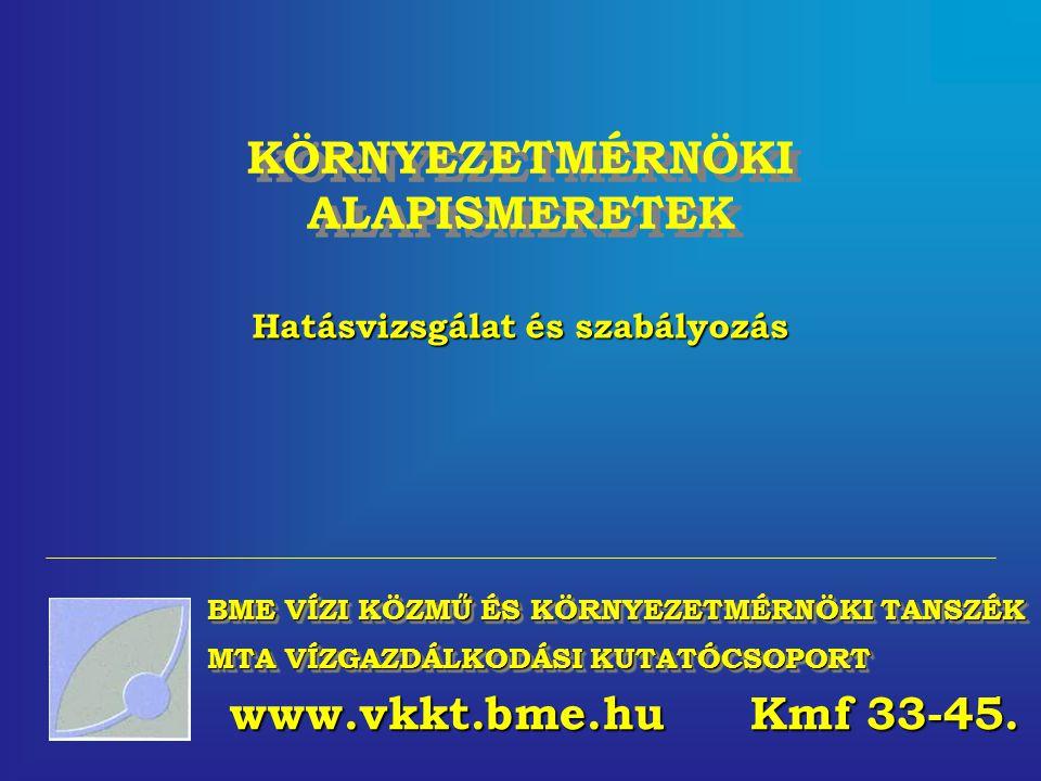 KÖRNYEZETMÉRNÖKI ALAPISMERETEK Hatásvizsgálat és szabályozás