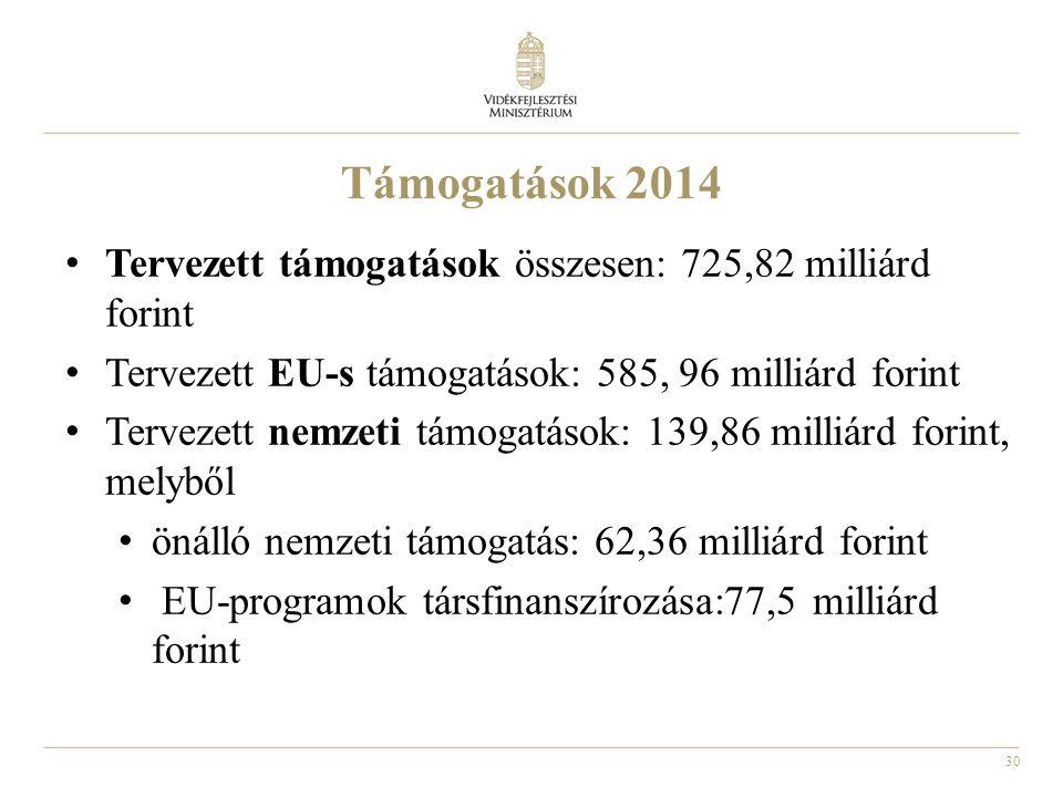Támogatások 2014 Tervezett támogatások összesen: 725,82 milliárd forint. Tervezett EU-s támogatások: 585, 96 milliárd forint.