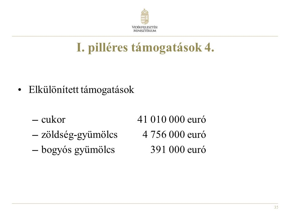 I. pilléres támogatások 4.