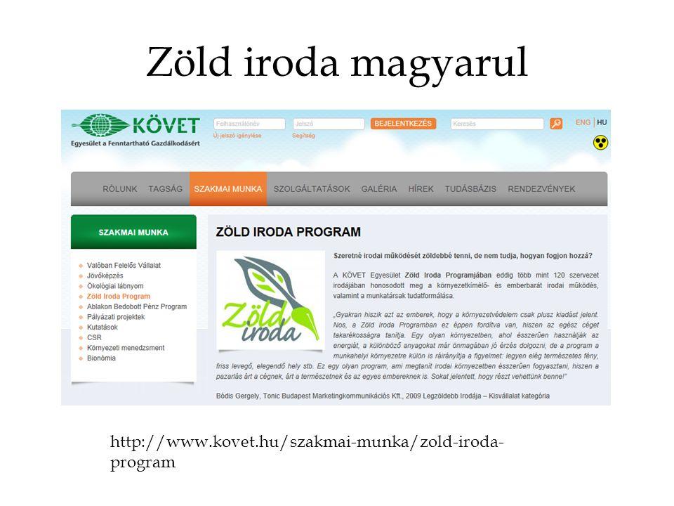 Zöld iroda magyarul http://www.kovet.hu/szakmai-munka/zold-iroda-program