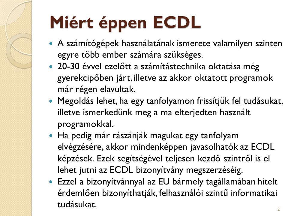 Miért éppen ECDL A számítógépek használatának ismerete valamilyen szinten egyre több ember számára szükséges.
