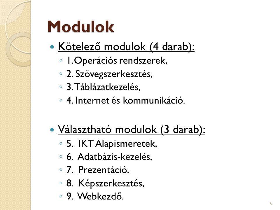 Modulok Kötelező modulok (4 darab): Választható modulok (3 darab):
