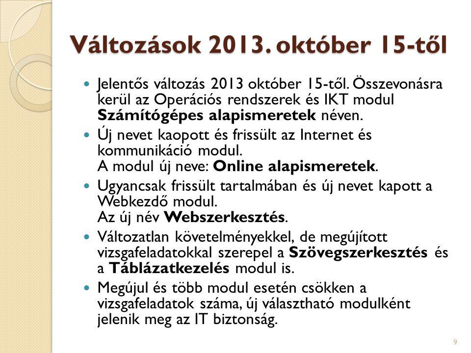 Változások 2013. október 15-től