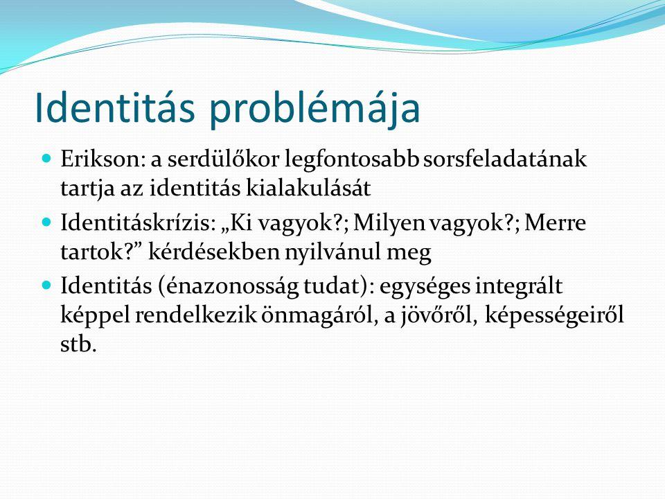 Identitás problémája Erikson: a serdülőkor legfontosabb sorsfeladatának tartja az identitás kialakulását.