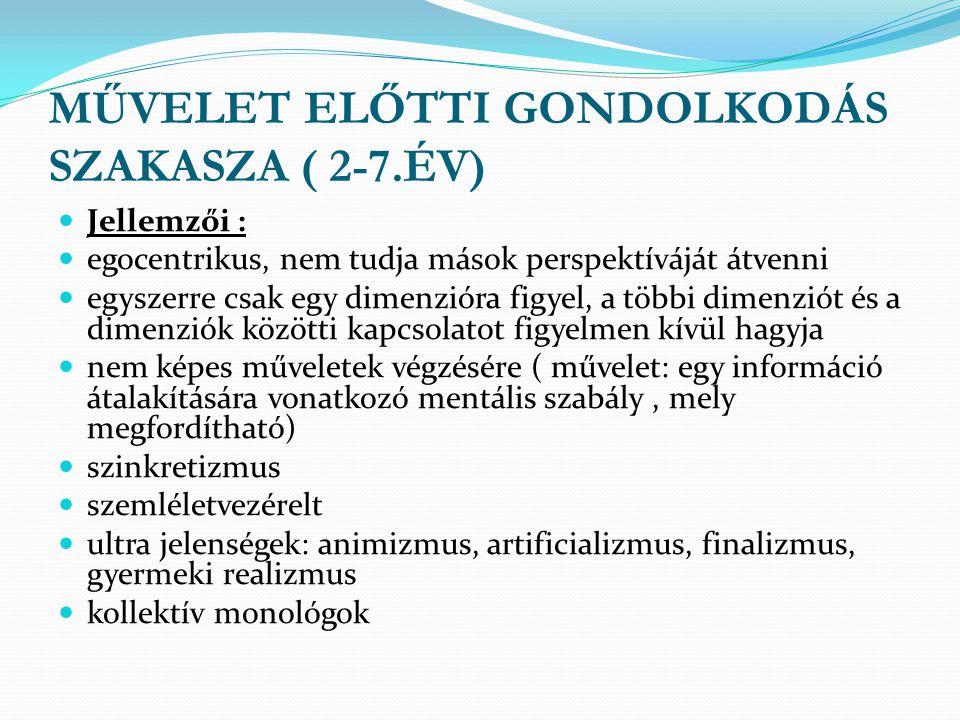 MŰVELET ELŐTTI GONDOLKODÁS SZAKASZA ( 2-7.ÉV)