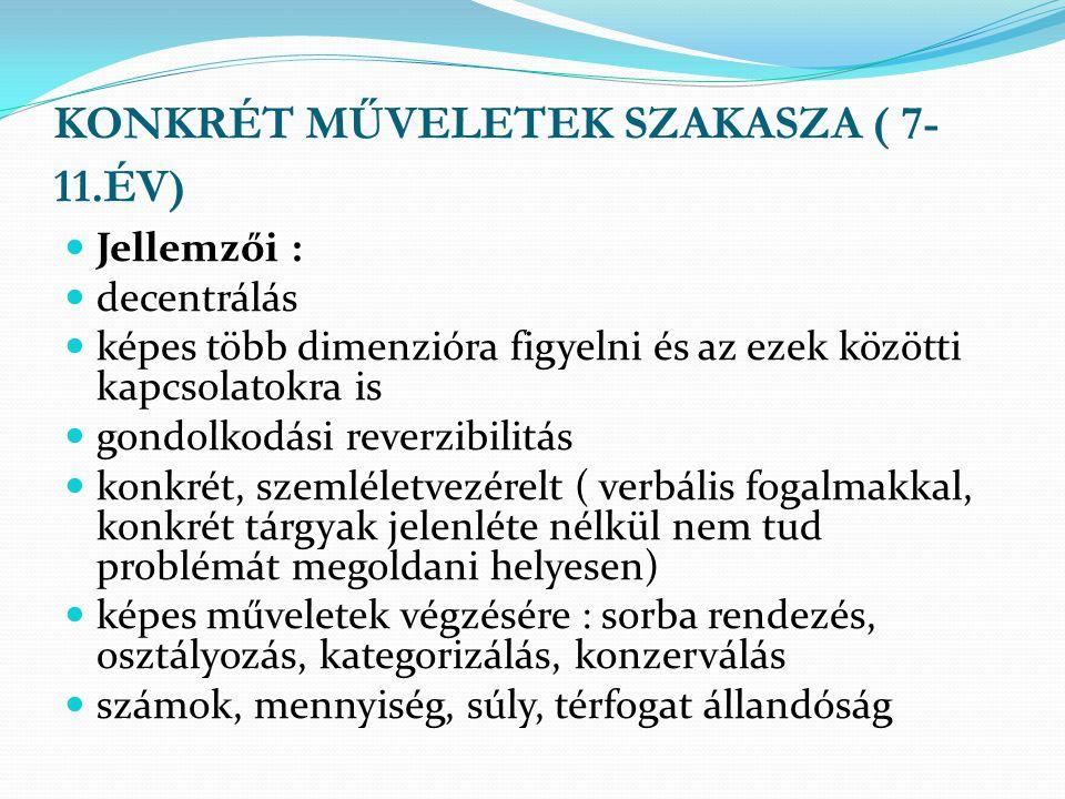 KONKRÉT MŰVELETEK SZAKASZA ( 7-11.ÉV)