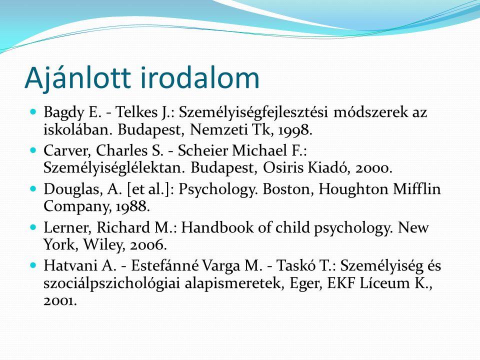Ajánlott irodalom Bagdy E. - Telkes J.: Személyiségfejlesztési módszerek az iskolában. Budapest, Nemzeti Tk, 1998.