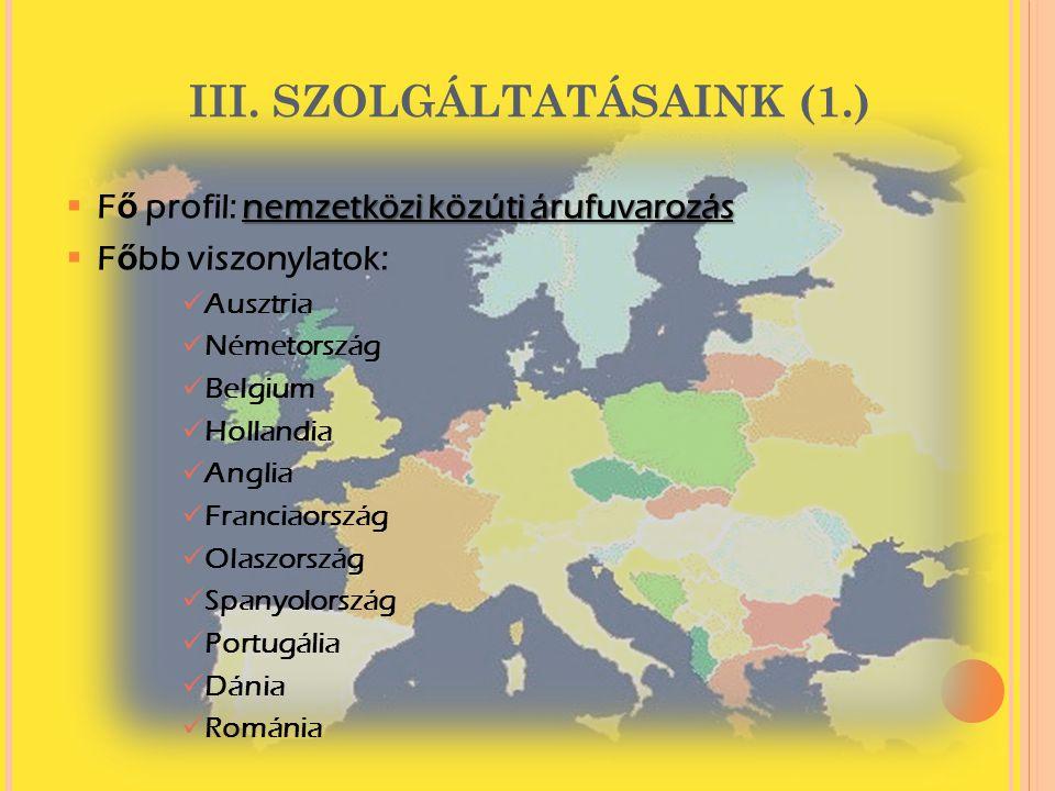 III. SZOLGÁLTATÁSAINK (1.)