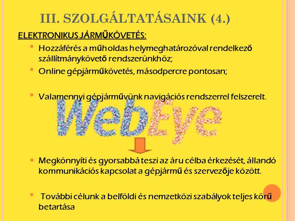 III. SZOLGÁLTATÁSAINK (4.)