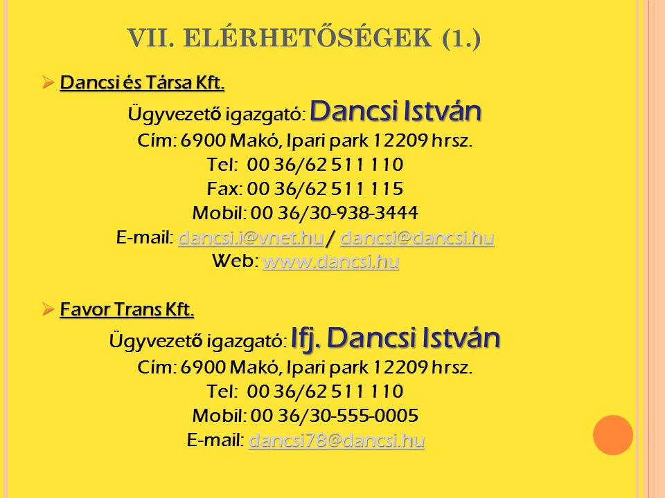 VII. ELÉRHETŐSÉGEK (1.) Dancsi és Társa Kft.