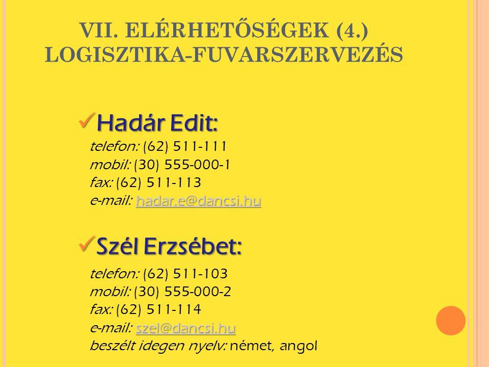 VII. ELÉRHETŐSÉGEK (4.) LOGISZTIKA-FUVARSZERVEZÉS
