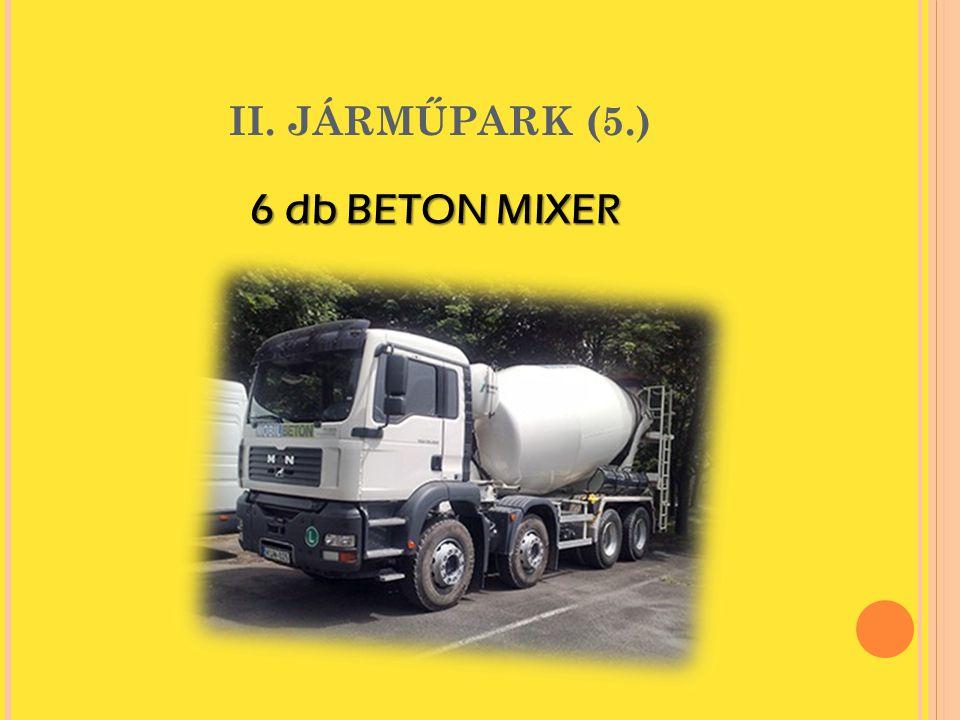 II. JÁRMŰPARK (5.) 6 db BETON MIXER