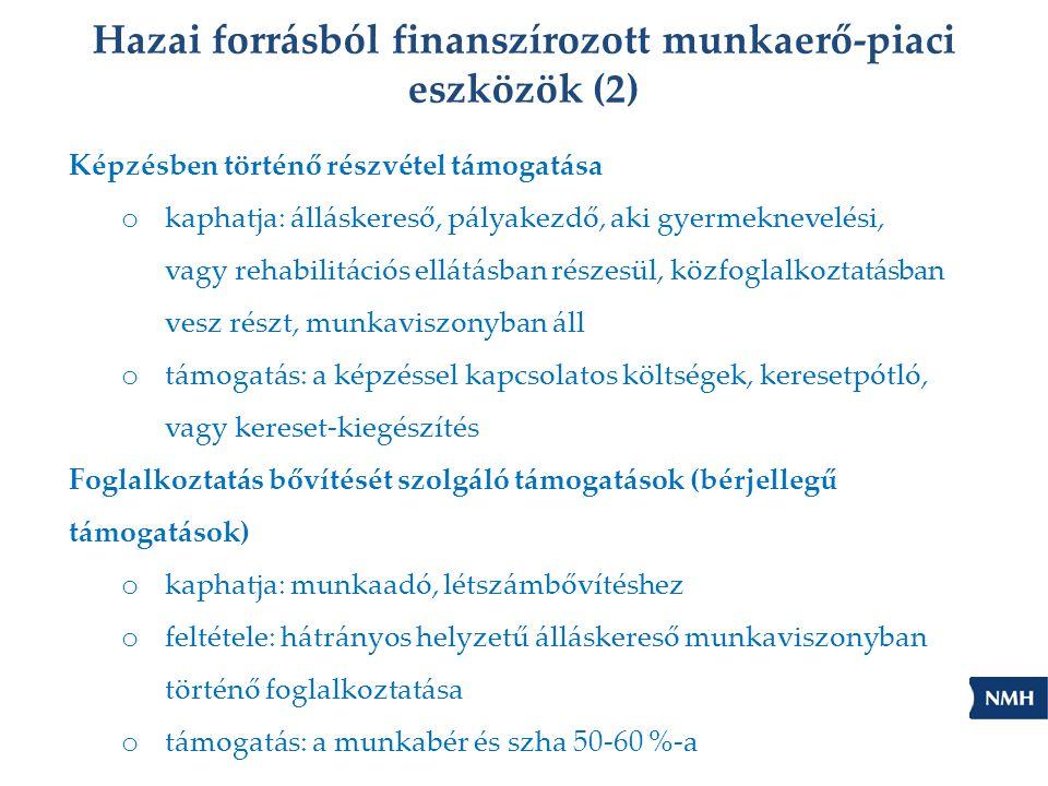 Hazai forrásból finanszírozott munkaerő-piaci eszközök (2)