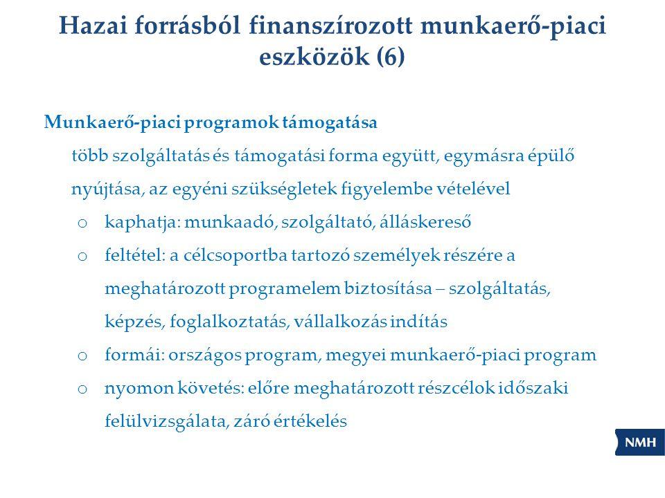 Hazai forrásból finanszírozott munkaerő-piaci eszközök (6)