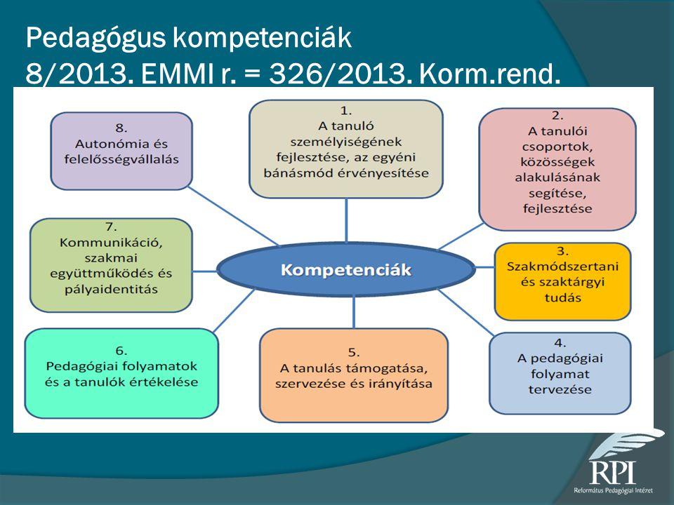 Pedagógus kompetenciák 8/2013. EMMI r. = 326/2013. Korm.rend.