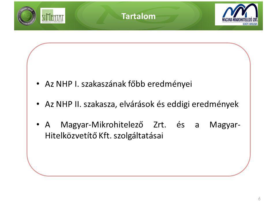 Tartalom Az NHP I. szakaszának főbb eredményei. Az NHP II. szakasza, elvárások és eddigi eredmények.