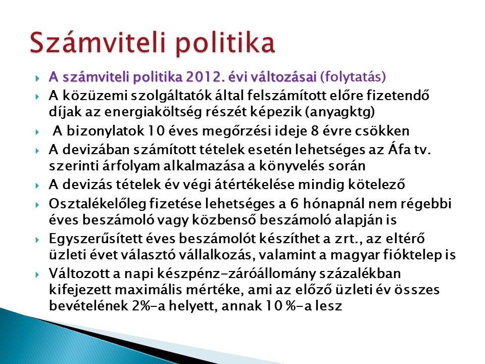 Számviteli politika A számviteli politika 2012. évi változásai (folytatás)