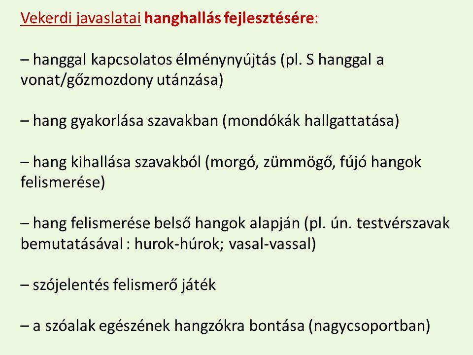 Vekerdi javaslatai hanghallás fejlesztésére: