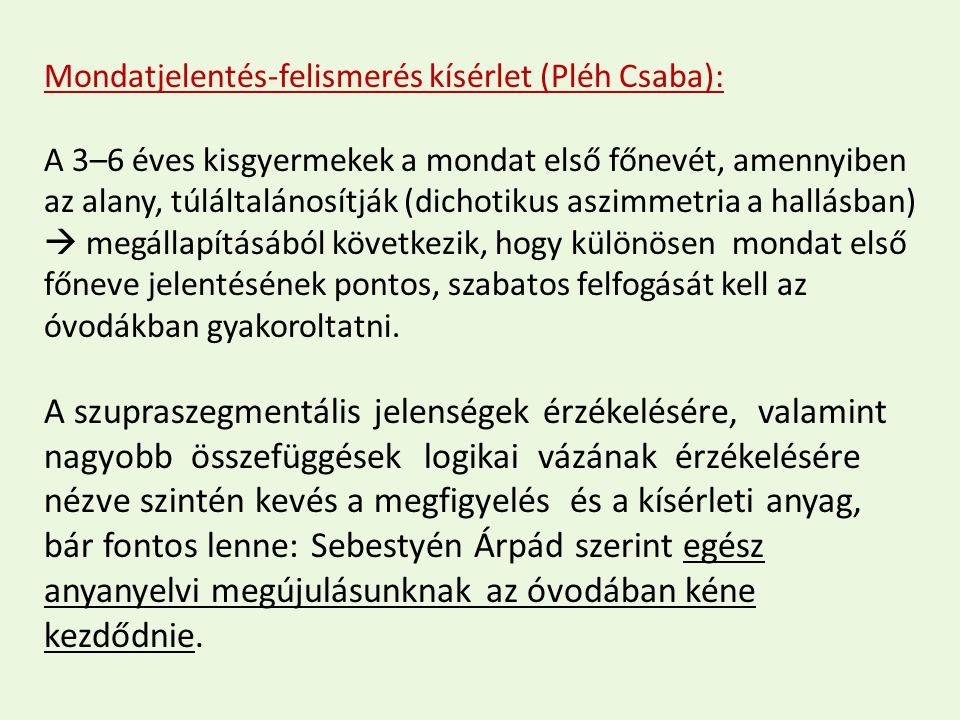 Mondatjelentés-felismerés kísérlet (Pléh Csaba):