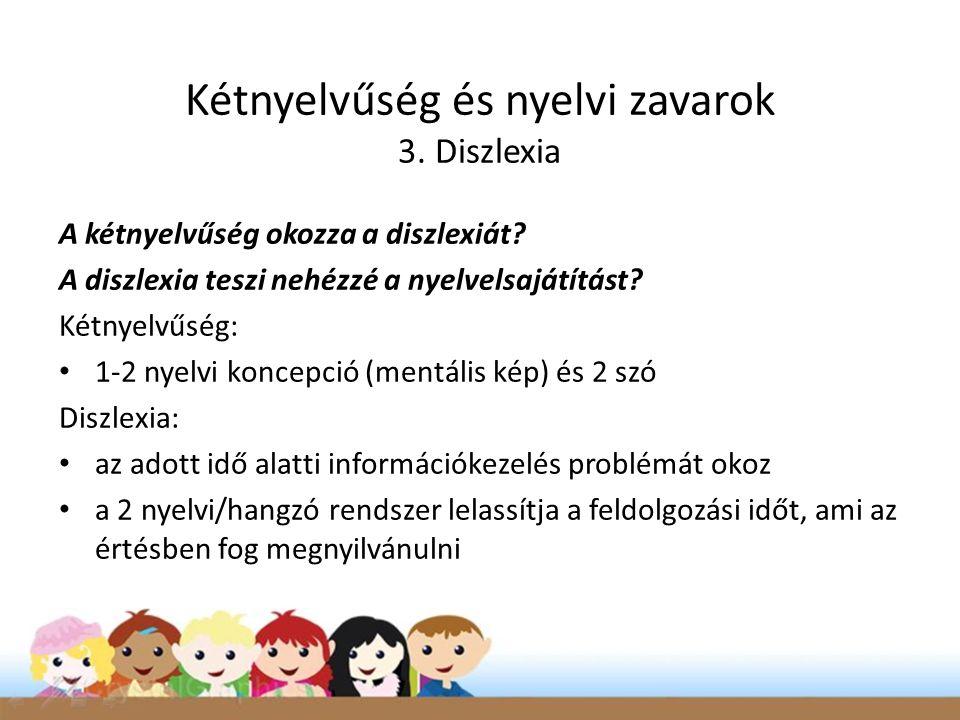 Kétnyelvűség és nyelvi zavarok 3. Diszlexia