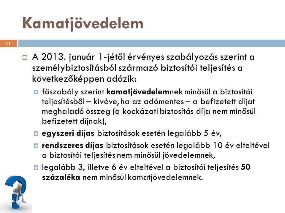 Kamatjövedelem A 2013. január 1-jétől érvényes szabályozás szerint a személybiztosításból származó biztosítói teljesítés a következőképpen adózik: