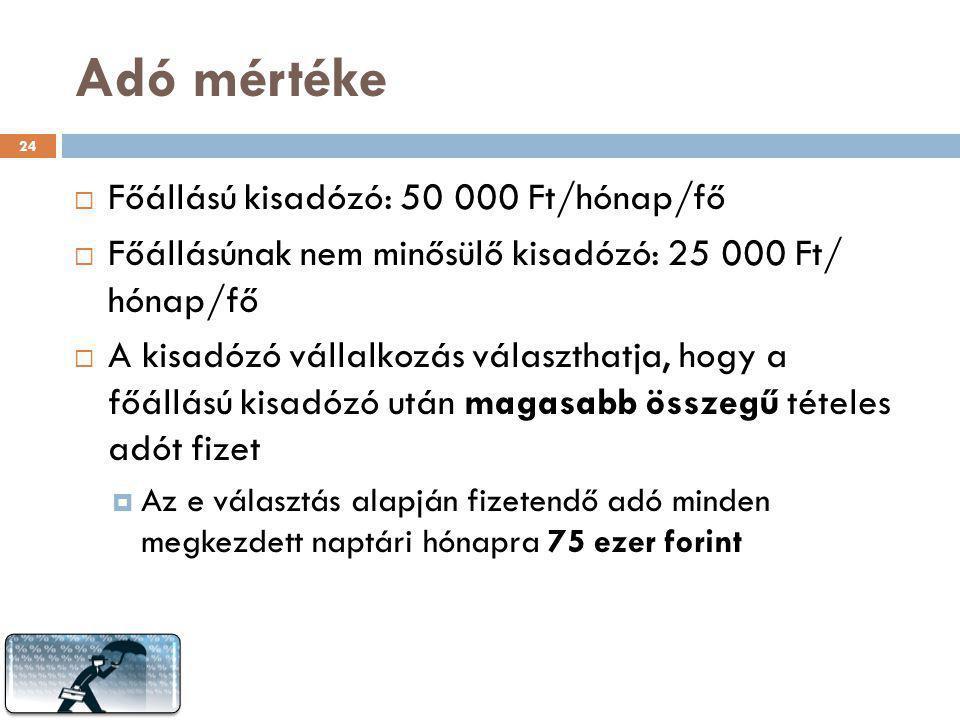 Adó mértéke Főállású kisadózó: 50 000 Ft/hónap/fő