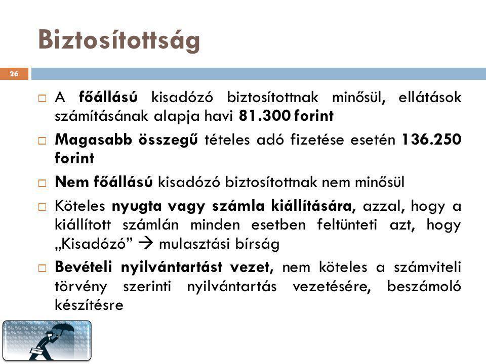 Biztosítottság A főállású kisadózó biztosítottnak minősül, ellátások számításának alapja havi 81.300 forint.