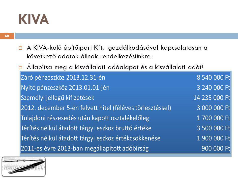 KIVA A KIVA-koló építőipari Kft. gazdálkodásával kapcsolatosan a következő adatok állnak rendelkezésünkre: