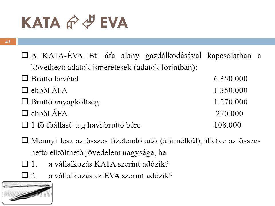 KATA  EVA A KATA-ÉVA Bt. áfa alany gazdálkodásával kapcsolatban a következő adatok ismeretesek (adatok forintban):