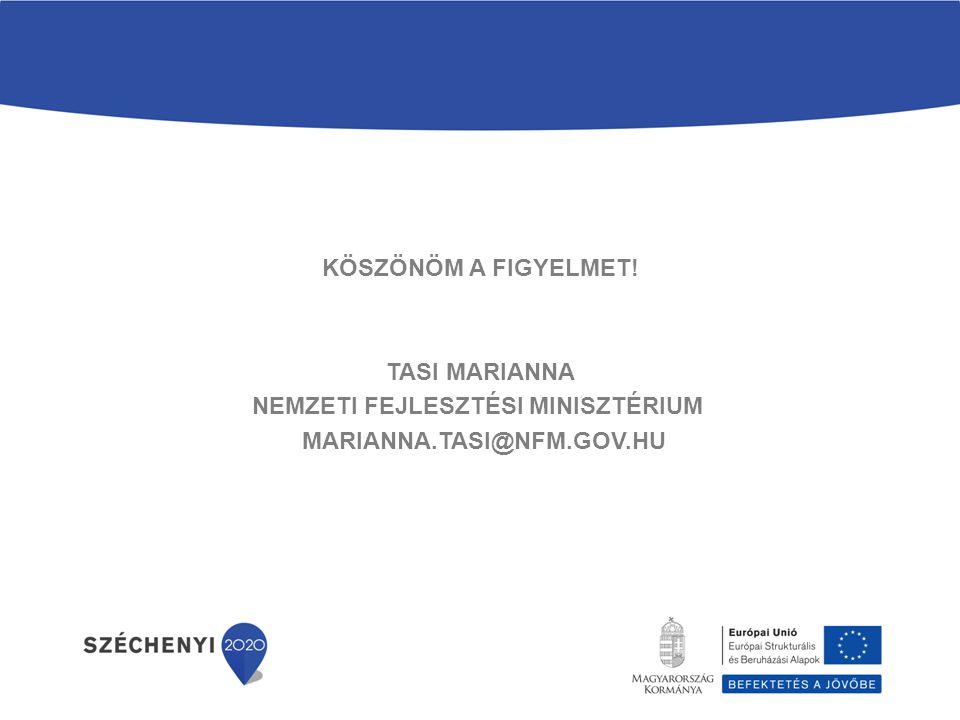 Köszönöm a Figyelmet! Tasi Marianna Nemzeti Fejlesztési Minisztérium marianna.tasi@nfm.gov.hu