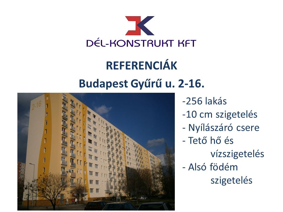 REFERENCIÁK Budapest Gyűrű u. 2-16.