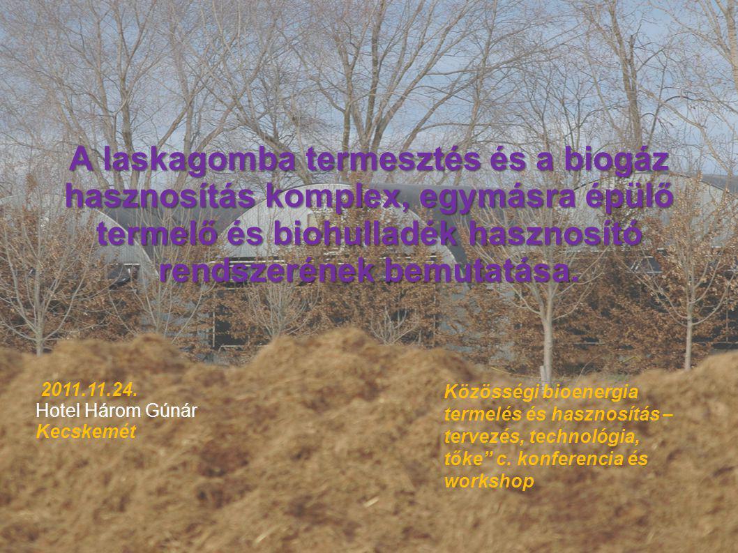 A laskagomba termesztés és a biogáz hasznosítás komplex, egymásra épülő termelő és biohulladék hasznosító rendszerének bemutatása.